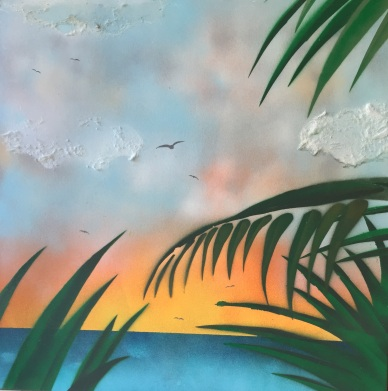 "Sunset on a Tropical Island. Spray Paint on Drywall (Gypsum Board). 24"" x 24"", July 2014."
