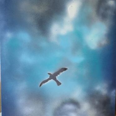 """Freedom. Spray Paint on Drywall (Gypsum Board). 24"""" x 24"""", July 2014."""