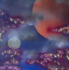 "Alien-scape. Spray Paint on Drywall (Gypsum Board). 24"" x 24"", August 2014."