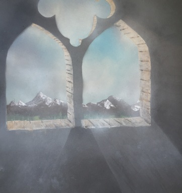 "Mountains. Spray Paint on Drywall (Gypsum Board). 24"" x 24"", September 2014."