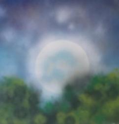 "Moonbeams. Spray Paint on Drywall (Gypsum Board). 24"" x 24"", August 2014."