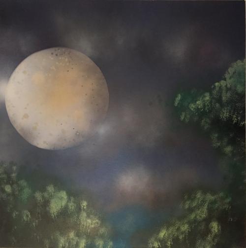 "Moon Forest. Spray Paint on Drywall (Gypsum Board). 24"" x 24"", 2014."